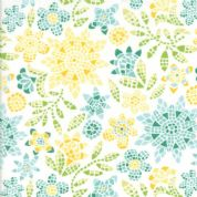 Grand Canal by Kate Spain - 5057 - Mosaic Style Floral, Aqua & Yellow on White - 27252 15 - Cotton Fabric